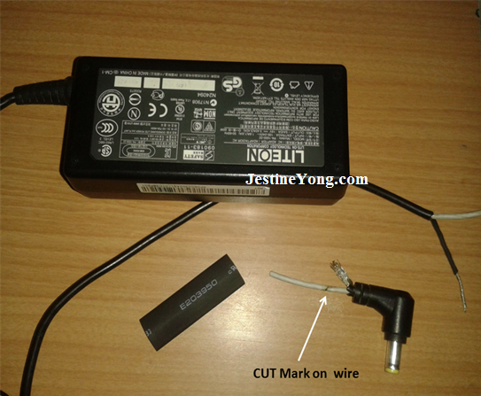 laptop power cable repaired
