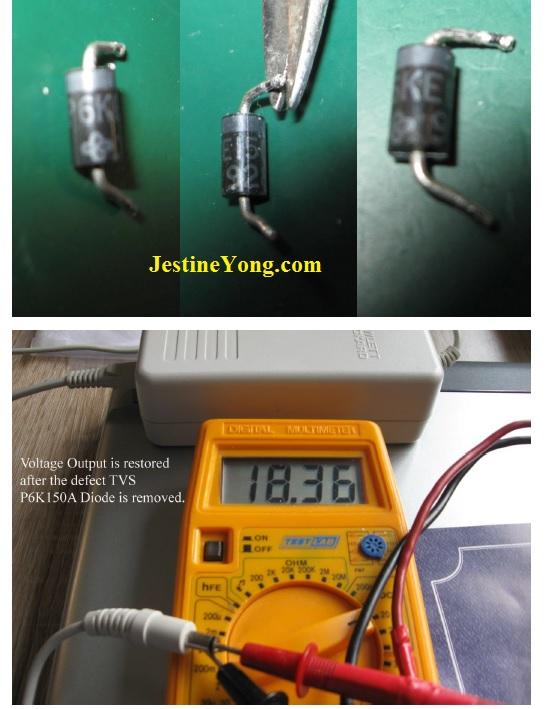 testing p6ke150a transcient diode