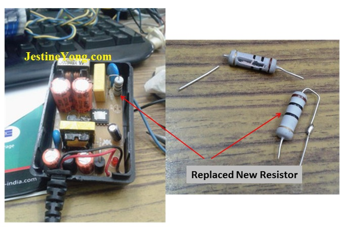 open resistor in power adapter