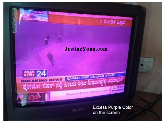 purple color problem in crt tv