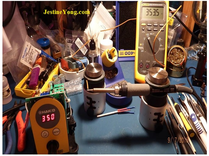 The Hakko soldering station here is set to 350⁰C
