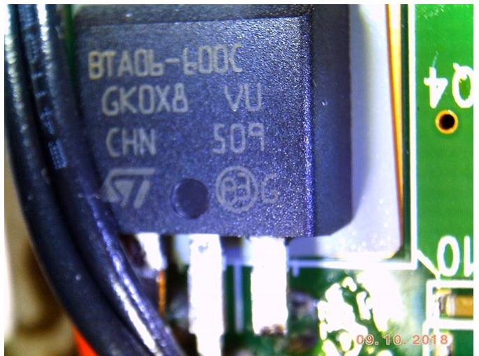A close-up of the Triac