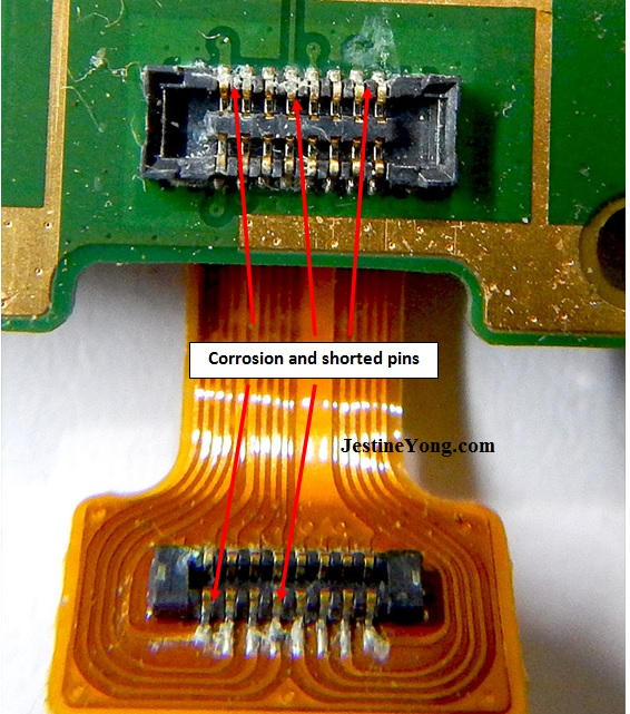 corrosion and shorted pins