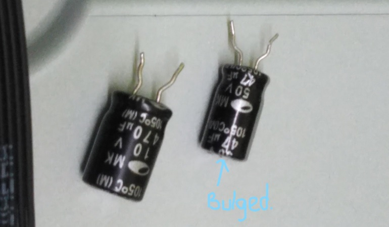 bulged capacitor in led tv