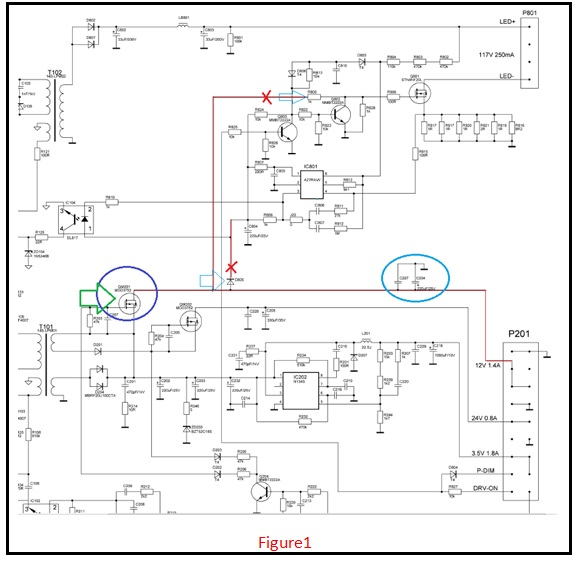 led tv schematic