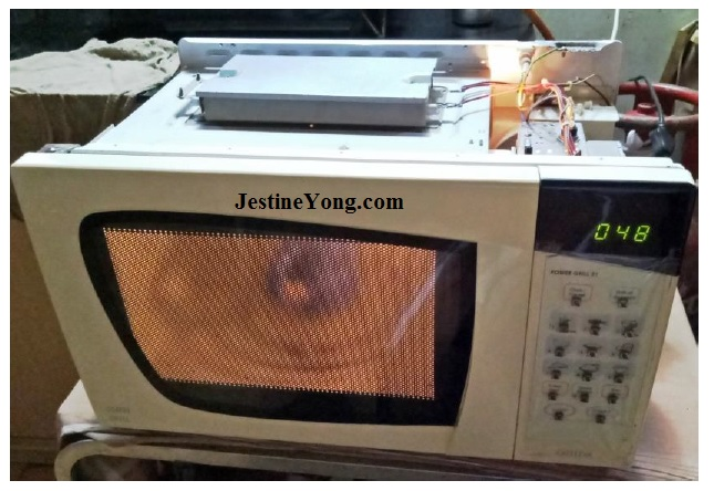 servicing microwave oven