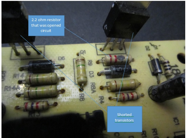 2.2 ohm resistor burnt