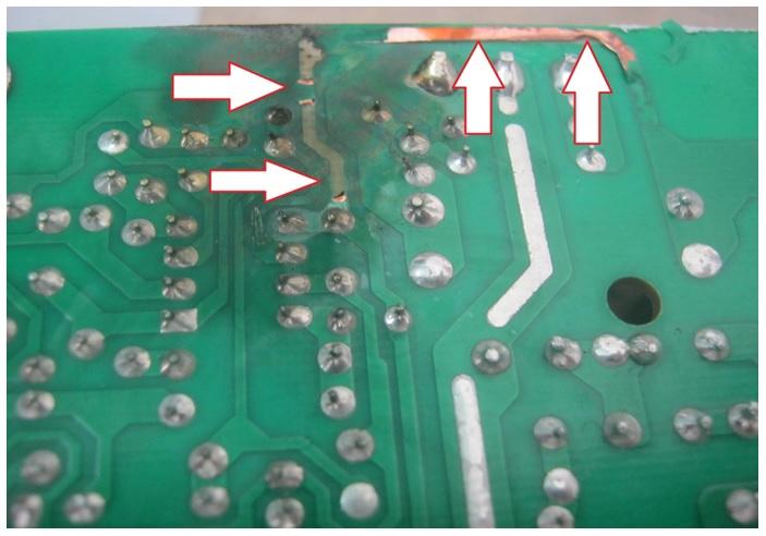 burnt circuit board
