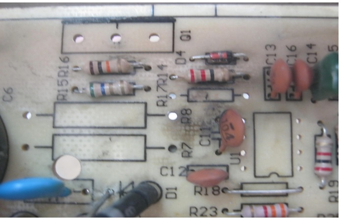 burnt circuit board in power supply