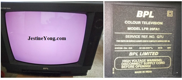 violet color in crt tv
