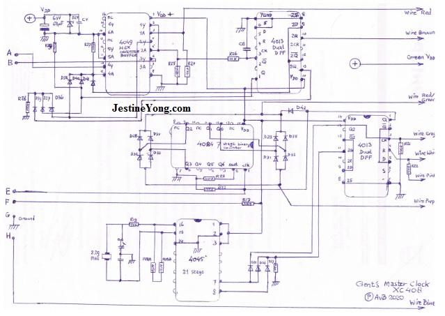 Gent's XC408 Master clock circuit board diagram schematic