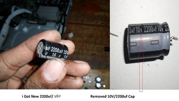 bad 2200uf 10 volt capacitor