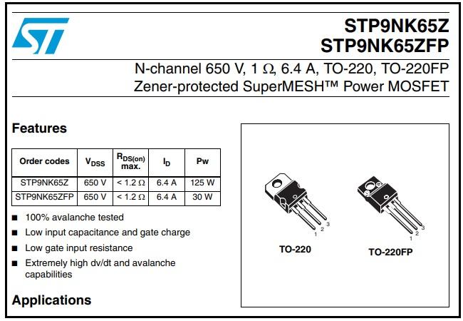 stp95k65z fet lcd tv