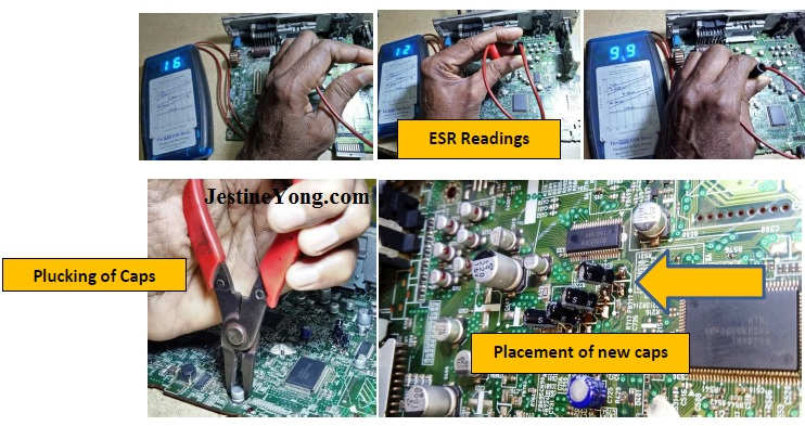 blue esr meter checking circuit board
