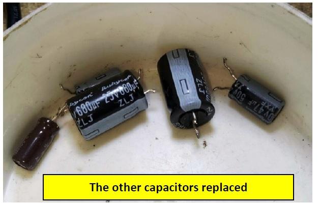 bad capacitor in sony lcd tv