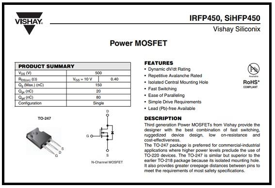 irfp450 datasheet
