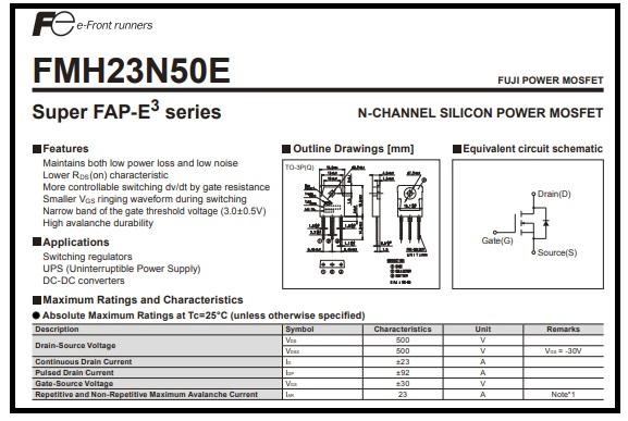 23n50es datasheet