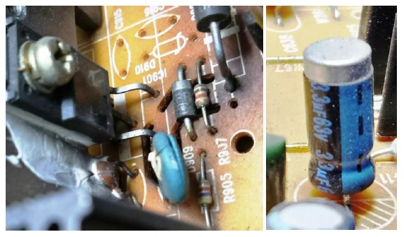 bad capacitor in crt tv