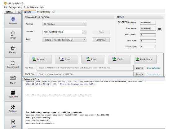 MPLAB's IPE v5.45 programmed PIC