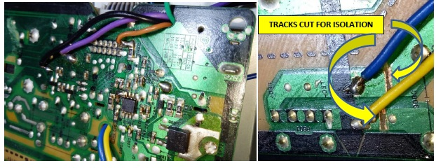 circuit track cut for isolation