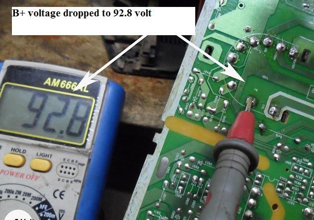 b+ voltage drop in tv