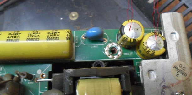 bulged capacitors in led tv