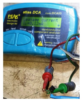 atlas tester check transistor faulty