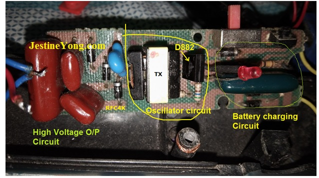 capacitor problem in mosquito racket