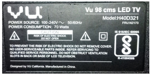vu led tv repair