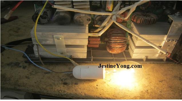 light bulb test on welding machine