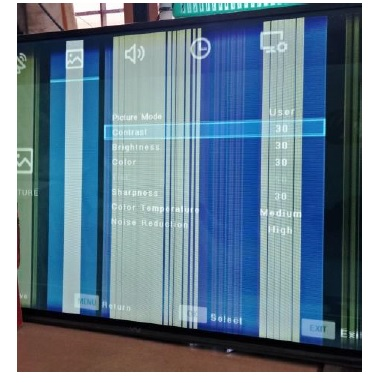 vertical lines across led tv screen