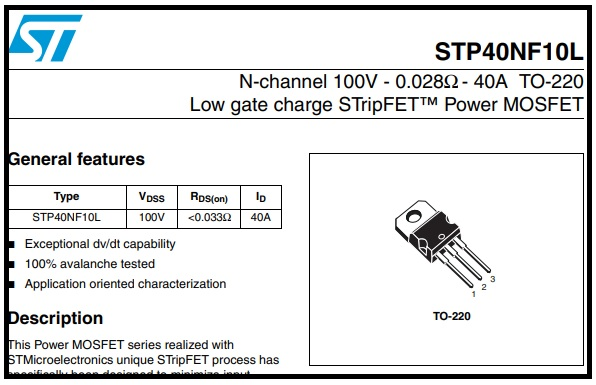 stp40n10l datasheet