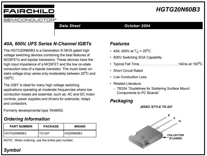 HGTG20N60B3 datasheet