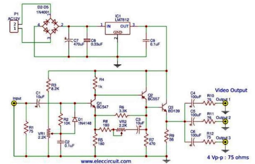 video amplifier splitter diagram