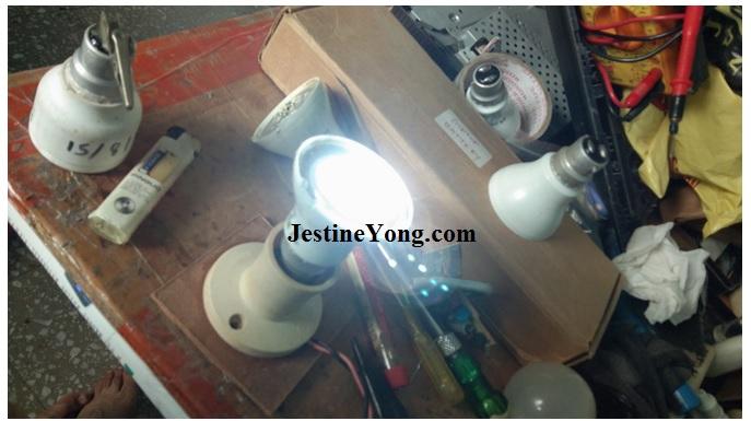 checking led bulb