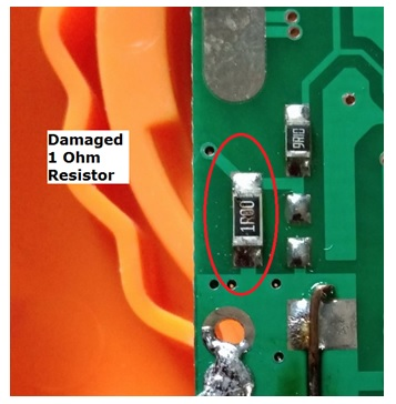 burnt smd resistor