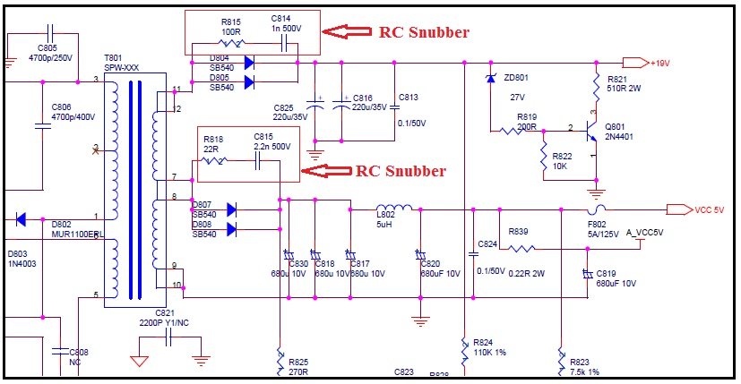 RC snubber circuit in smps